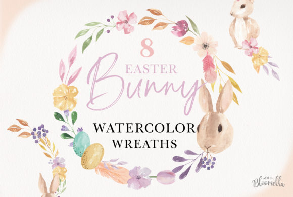 8 Watercolour Easter Egg Clipart Bunnies Floral Graphic Illustrations By Bloomella