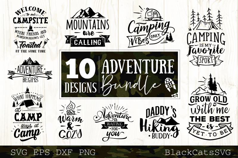 Download Free Adventure Bundle 10 Graphic By Blackcatsmedia Creative Fabrica for Cricut Explore, Silhouette and other cutting machines.