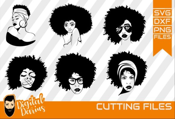 Download Free Afro Woman Bundle Graphic By Digitaldarius Creative Fabrica for Cricut Explore, Silhouette and other cutting machines.