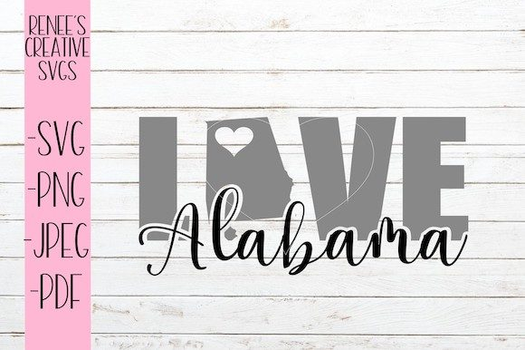 Download Free Alabama Love Svg Graphic By Reneescreativesvgs Creative Fabrica for Cricut Explore, Silhouette and other cutting machines.