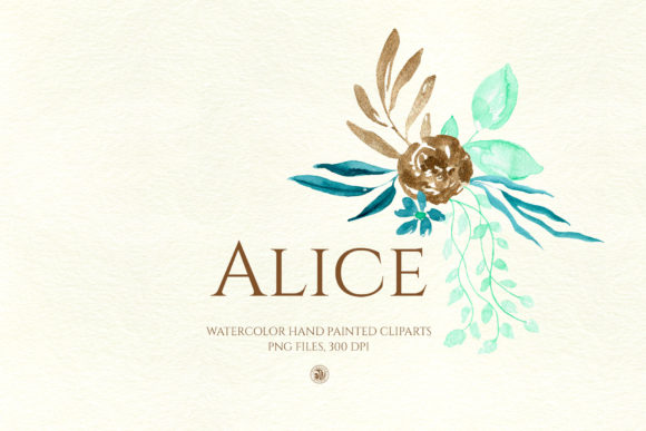 Print on Demand: Alice - Watercolor Flowers Graphic Illustrations By webvilla - Image 2
