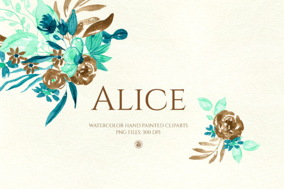 Download Free Alice Watercolor Flowers Graphic By Webvilla Creative Fabrica for Cricut Explore, Silhouette and other cutting machines.