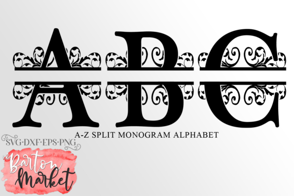 Alphabet Split Monogram a-Z Graphic Crafts By Barton Market