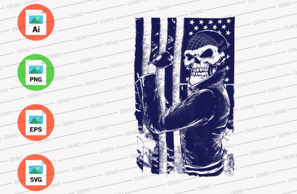 American Badass Graphic Illustrations By Skull and Rose