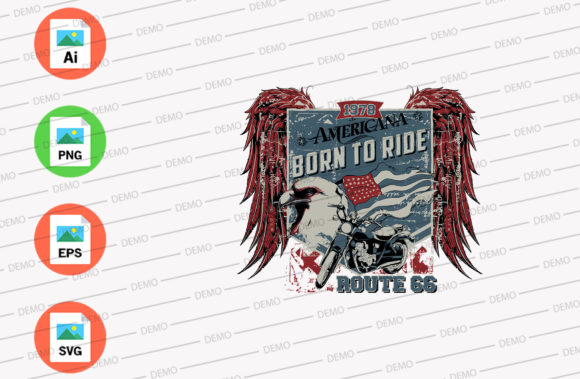American Born to Ride Graphic Illustrations By Skull and Rose