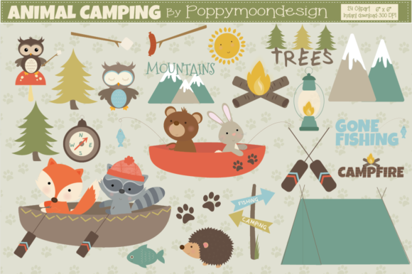 Print on Demand: Animal Camping Graphic Illustrations By poppymoondesign