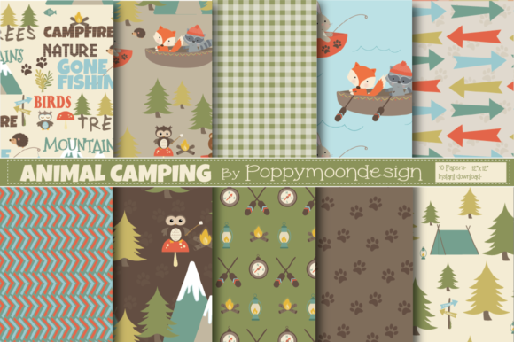Print on Demand: Animal Camping Papers Gráfico Moldes Por poppymoondesign