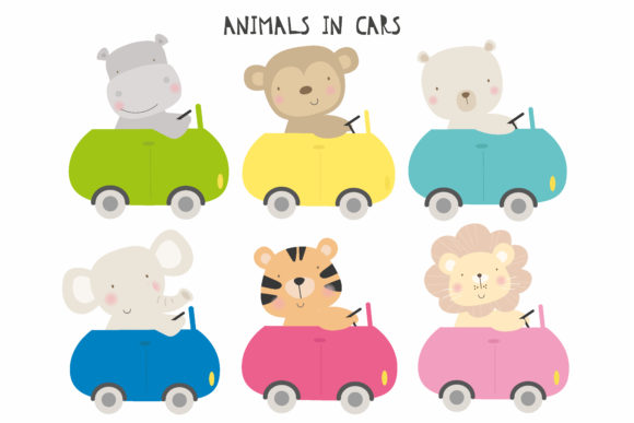 Print on Demand: Animals in Cars Graphic Illustrations By poppymoondesign