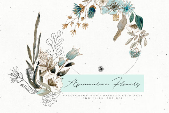 Aquamarine Watercolor Flowers Graphic Illustrations By webvilla