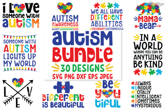 Download Free Autism Bundle Graphic By Thedesignhippo Creative Fabrica for Cricut Explore, Silhouette and other cutting machines.