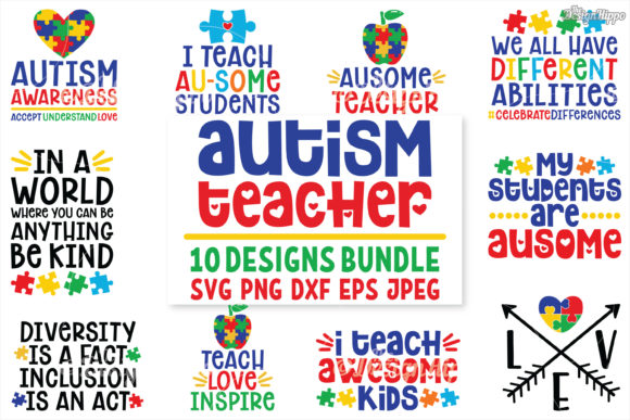 Download Free Autism Teacher Bundle Graphic By Thedesignhippo Creative Fabrica for Cricut Explore, Silhouette and other cutting machines.