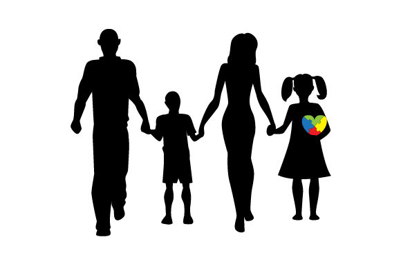 Download Free Autistic Family Member Silhouette With Puzzle Heart Svg Cut File for Cricut Explore, Silhouette and other cutting machines.