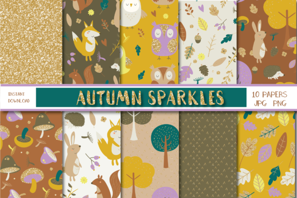 Print on Demand: Autumn Sparkles Paper Graphic Patterns By poppymoondesign
