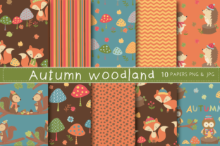 Print on Demand: Autumn Woodland Papers Graphic Patterns By poppymoondesign