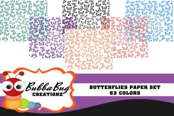 Butterflies Paper Set Graphic Patterns By BUBBABUG
