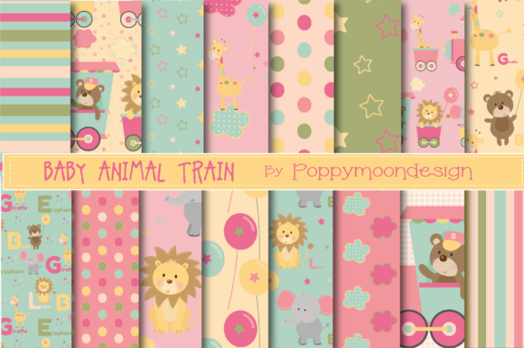 Print on Demand: Baby Animal Train Paper Graphic Patterns By poppymoondesign