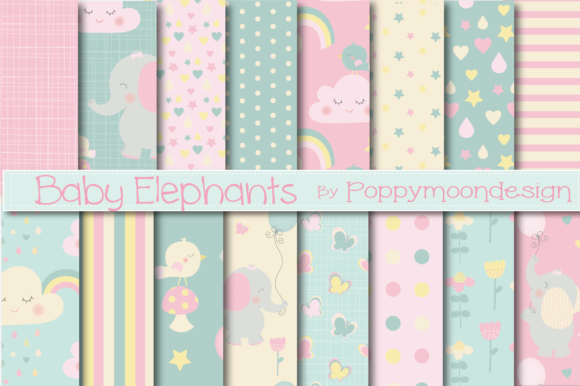 Print on Demand: Baby Elephant Appers Graphic Patterns By poppymoondesign