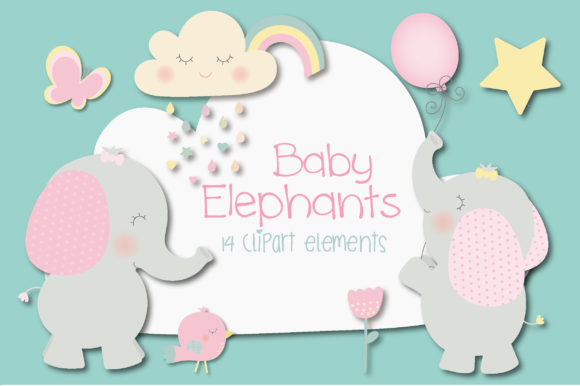 Print on Demand: Baby Elephants Graphic Illustrations By poppymoondesign