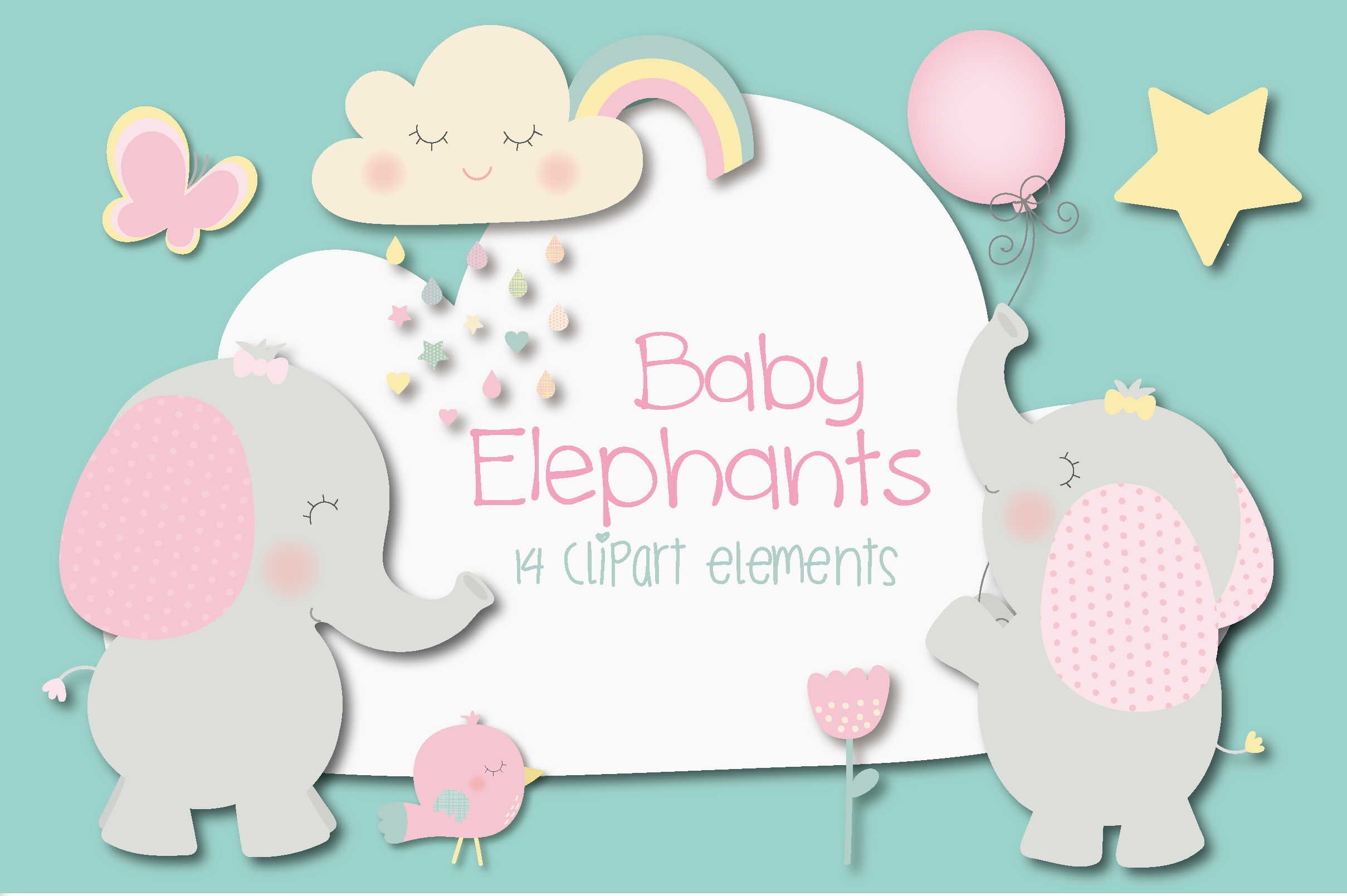 Download Free Baby Elephants Graphic By Poppymoondesign Creative Fabrica for Cricut Explore, Silhouette and other cutting machines.