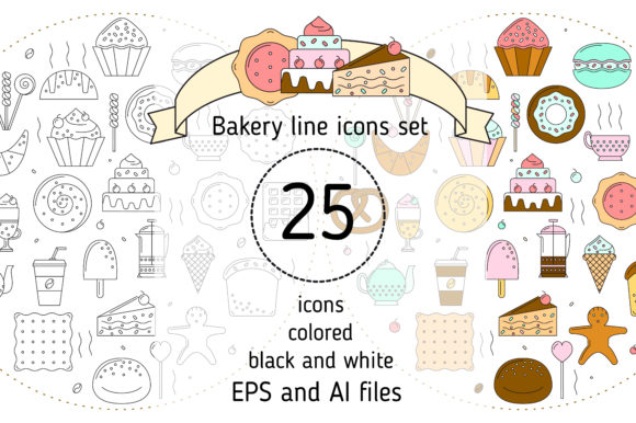 Print on Demand: Bakery Icons Set Graphic Icons By KatiaZhe