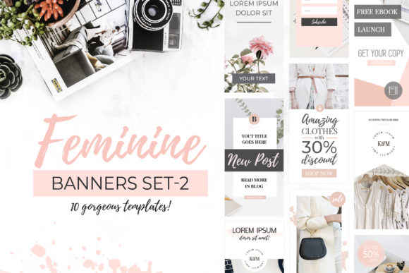 Banners for Blog or Pinterest V.2 Graphic Web Elements By switzershop