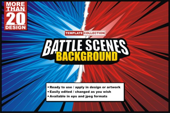 Print on Demand: Battle Scene Background - Template Collection Graphic Backgrounds By azkaryzki