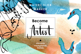 Be an Artist Watercolor Decor Kit Graphic By dinkoobraz