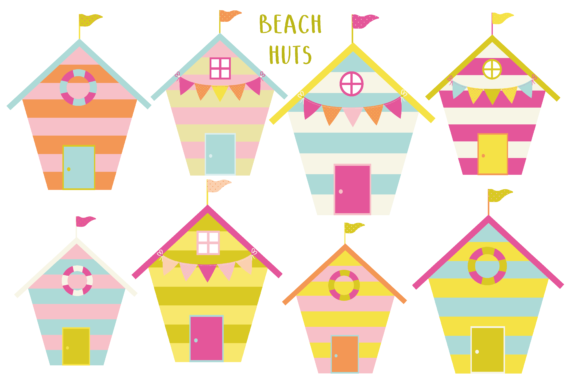 Print on Demand: Beach Huts Graphic Illustrations By poppymoondesign