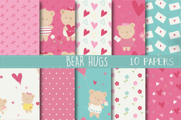 Print on Demand: Bear Hugs Paper Graphic Patterns By poppymoondesign
