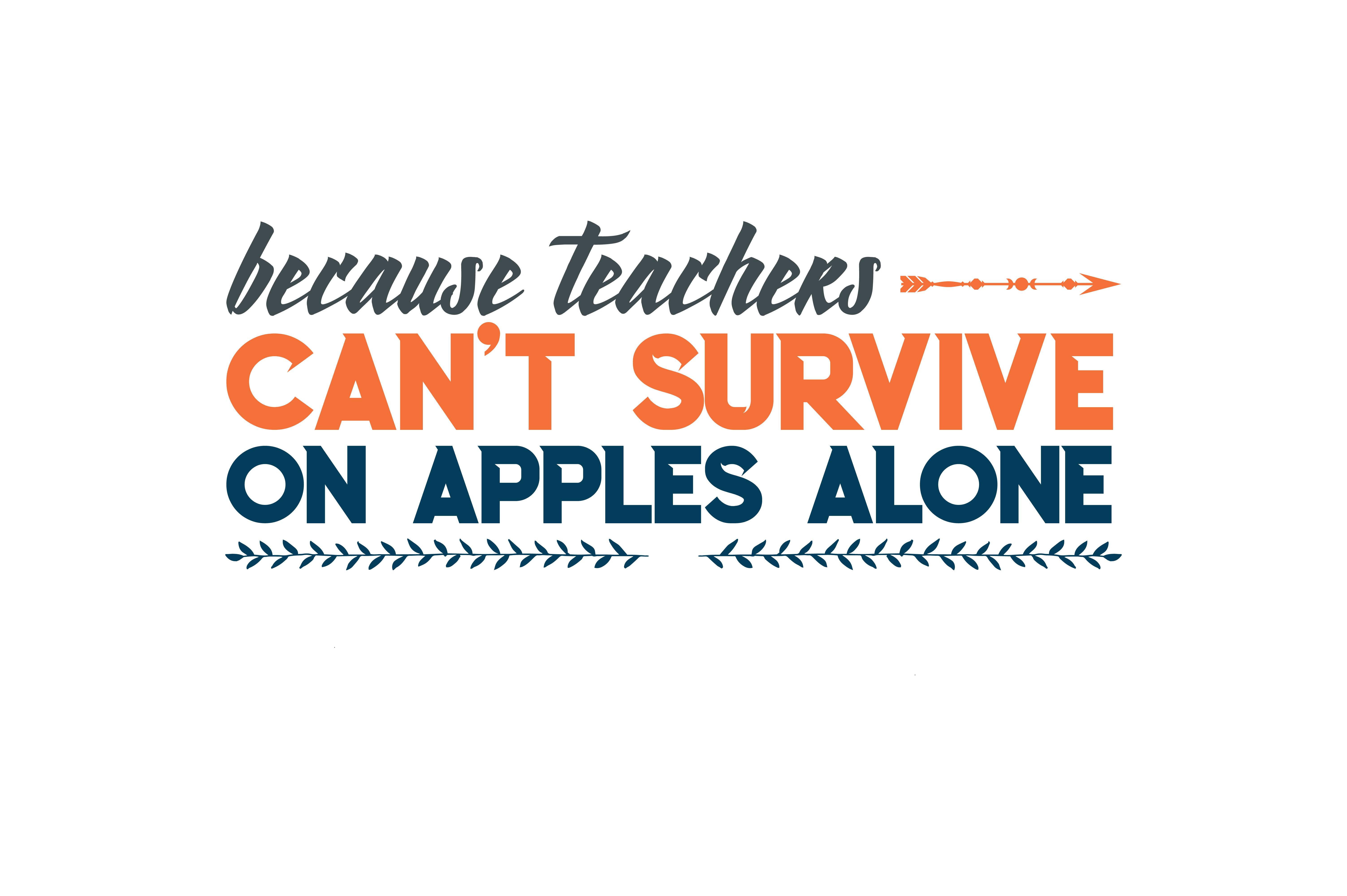 Because Teachers Can T Survive On Apples Alone Quote Svg Cut Graphic By Thelucky Creative Fabrica