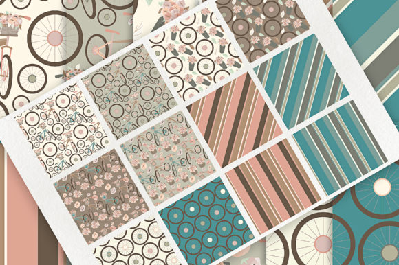 Print on Demand: Bicycles - Seamless Patterns & Digital Papers Graphic Patterns By Michelle Alzola - Image 2