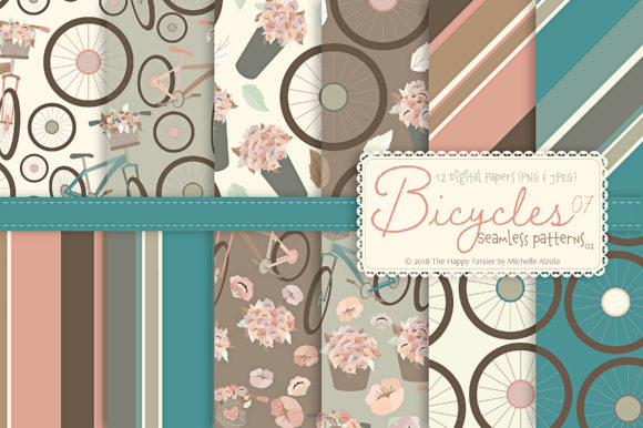 Print on Demand: Bicycles - Seamless Patterns & Digital Papers Graphic Patterns By Michelle Alzola