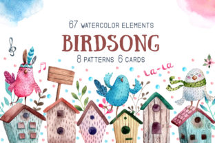 Birdsong - Watercolor Clip Art Set Graphic Illustrations By mashamashastu