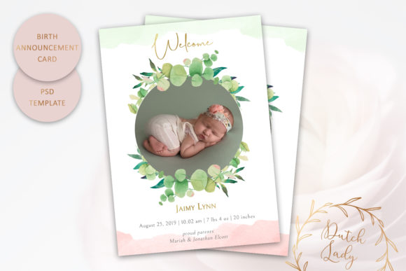 Print on Demand: Birth Announcement Card Template Graphic Print Templates By daphnepopuliers