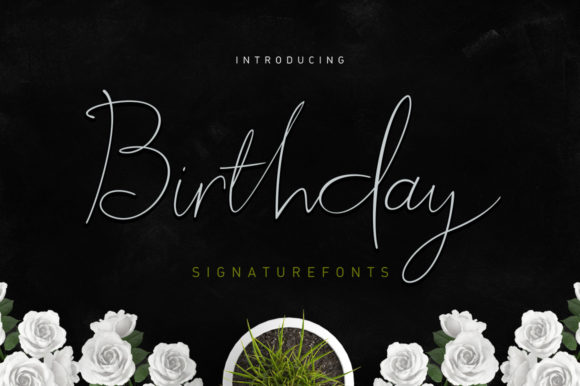 Birthday Script Manuscrita Fuente Por Stripes Studio