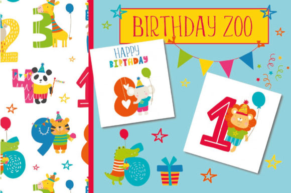 Print on Demand: Birthday Zoo Pack Graphic Illustrations By poppymoondesign