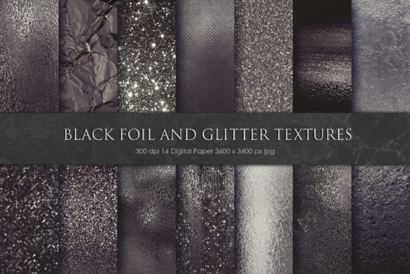 Print on Demand: Black Foil and Glitter Textures Graphic Textures By Creative Paper