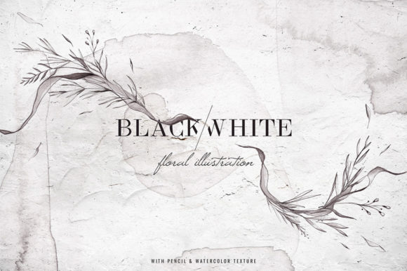 Download Free Black White Watercolor Floral Graphic By Blue Robin Design SVG Cut Files