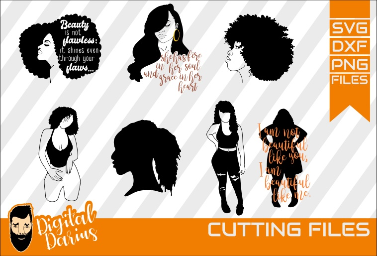 Download Free Black Woman Bundle Graphic By Digitaldarius Creative Fabrica for Cricut Explore, Silhouette and other cutting machines.