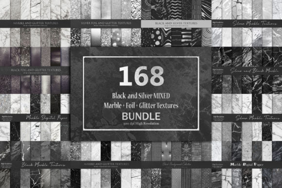 Black and Silver Mixed Bundle Textures