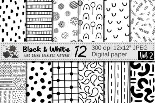 Black and White Hand Drawn Seamless Doodle Graphic Patterns By VR Digital Design
