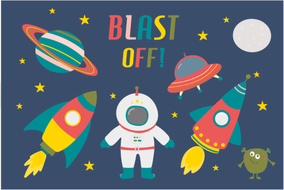Print on Demand: Blast off! Space Clipart Graphic Illustrations By poppymoondesign