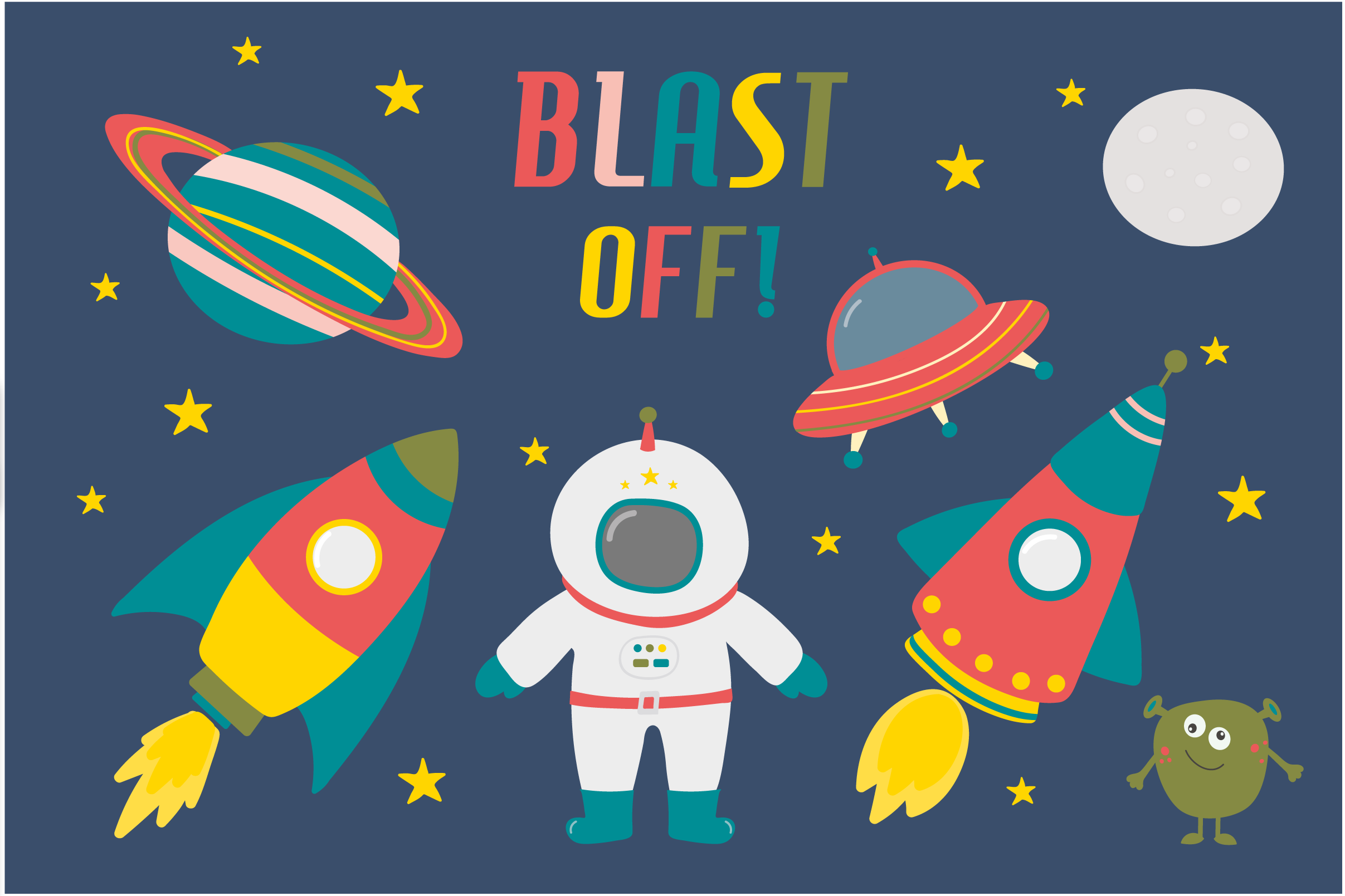 Blast off! Space Clipart (Graphic) by poppymoondesign · Creative Fabrica