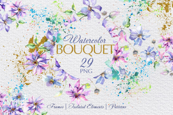 Print on Demand: Bouquet Violet Watercolor Png Graphic Illustrations By MyStocks