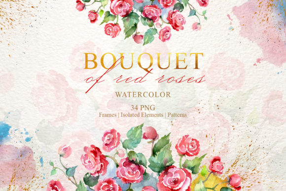 Download Free Bouquet Of Red Roses Watercolor Graphic By Mystocks Creative for Cricut Explore, Silhouette and other cutting machines.