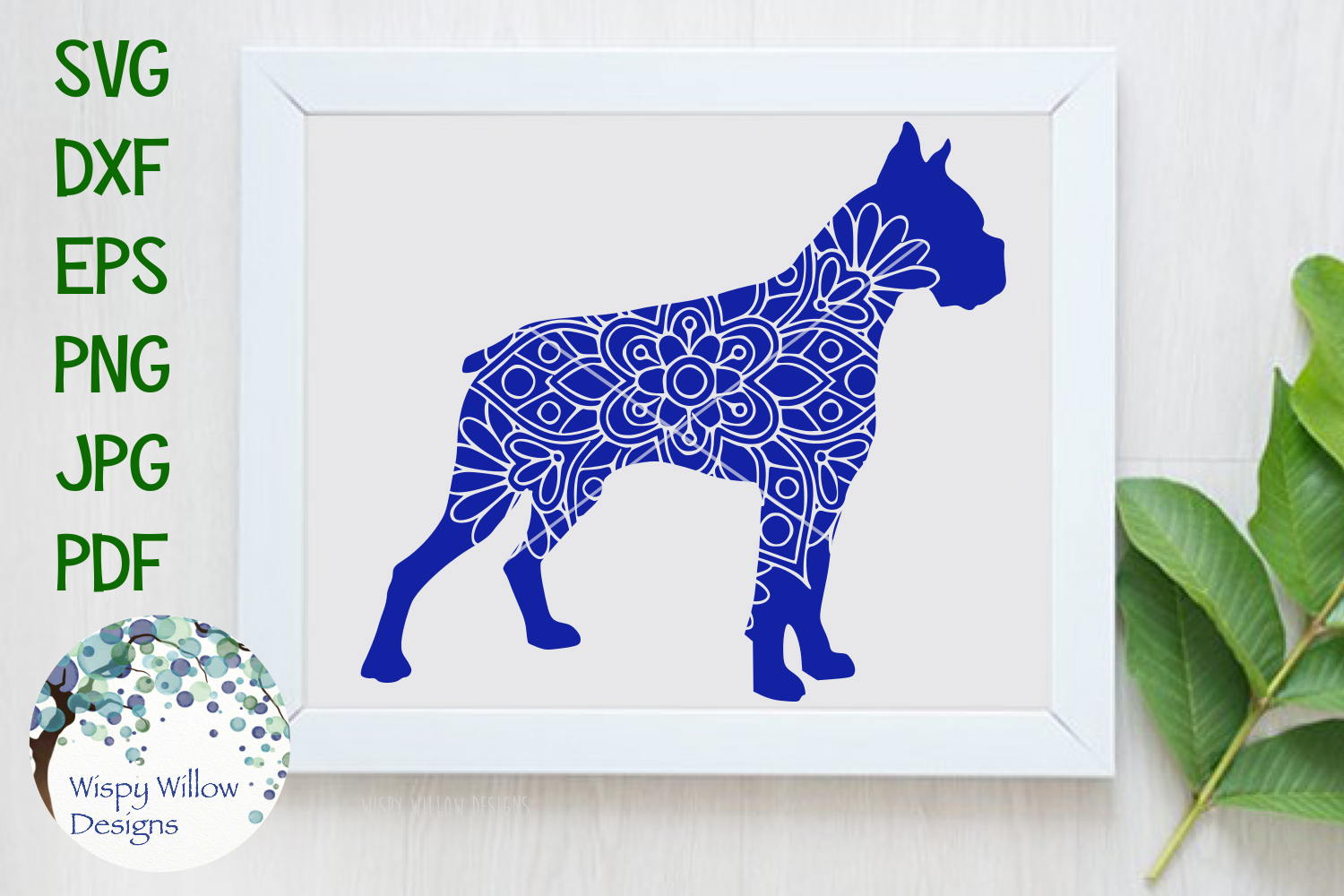 Download Free Boxer Dog Mandala Zentangle Svg Graphic By Wispywillowdesigns for Cricut Explore, Silhouette and other cutting machines.