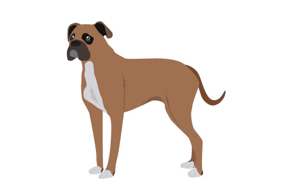 Boxer Dog with Natural Ears and a Tail Animals Craft Cut File By Creative Fabrica Crafts - Image 1