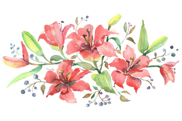 Print on Demand: Branch of Orange Lilies Watercolor Png Graphic Illustrations By MyStocks