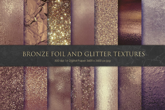 Print on Demand: Bronze Foil and Glitter Textures Graphic Textures By Creative Paper