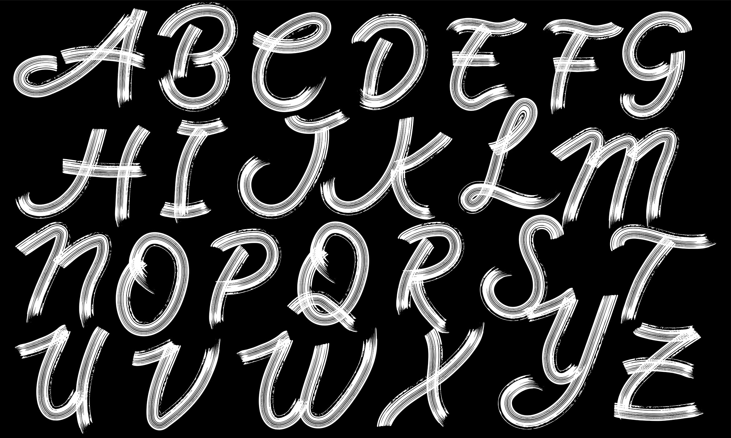 Download Free Brush Alphabet Vector Graphic By Aminmario Creative Fabrica for Cricut Explore, Silhouette and other cutting machines.